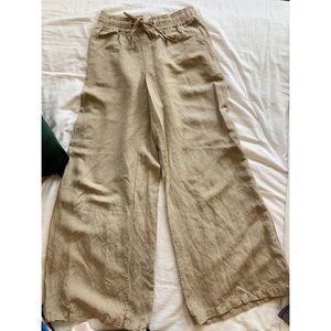 High waisted wide leg linen pants